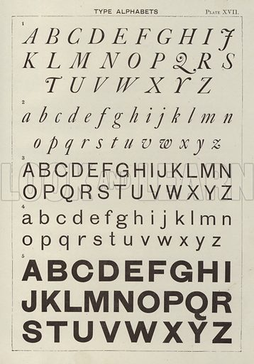 Type Alphabets. Illustration for Lettering for Schools and Colleges for the Office and Workship by Frank Steeley (G W Bacon, c 1900).