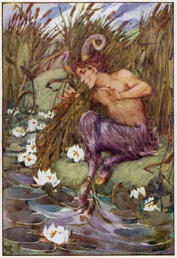 """""""What was he doing, the great God Pan, down in the reeds by the river?"""" Illustration for A Book of Myths by Jean Lang (Jack, c 1929)."""
