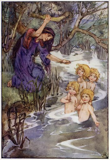 One touch for each, with a magical wand of the druids. Illustration for A Book of Myths by Jean Lang (Jack, c 1929).
