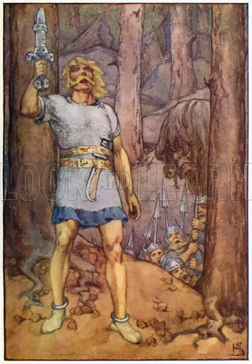 A stroke shivered the sword. Illustration for A Book of Myths by Jean Lang (Jack, c 1929).
