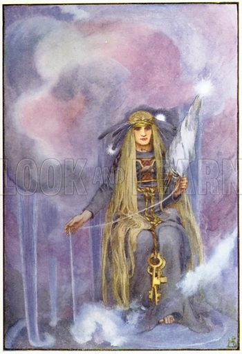 Freya sat spinning the clouds. Illustration for A Book of Myths by Jean Lang (Jack, c 1929).