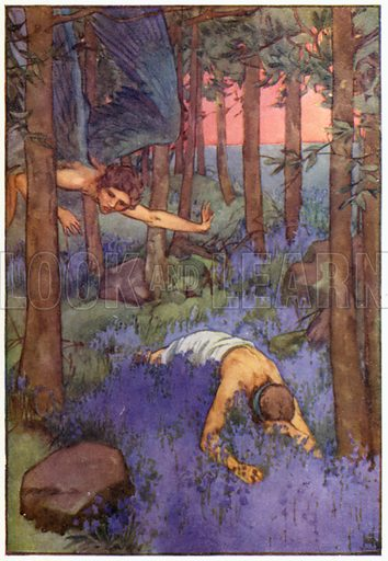 Darkness fell on the eyes of Hyacinthus. Illustration for A Book of Myths by Jean Lang (Jack, c 1929).