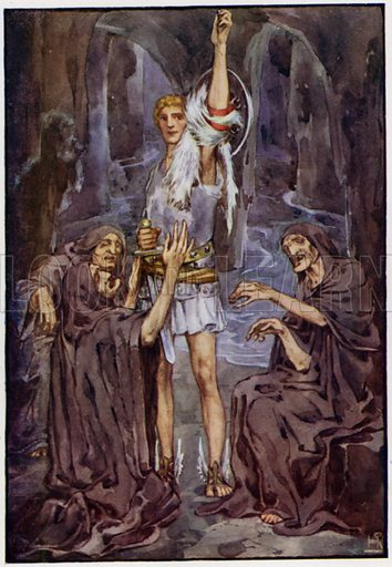 They whimpered and begged of him. Illustration for A Book of Myths by Jean Lang (Jack, c 1929).