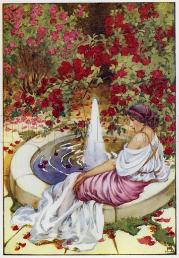 Marpessa sat alone by the fountain. Illustration for A Book of Myths by Jean Lang (Jack, c 1929).