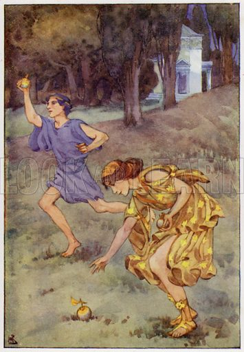 She stopped, and picked up the treasure. Illustration for A Book of Myths by Jean Lang (Jack, c 1929).