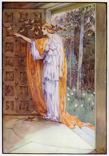 Thus did Psyche lose her fear, and enter the golden doors. Illustration for A Book of Myths by Jean Lang (Jack, c 1929).