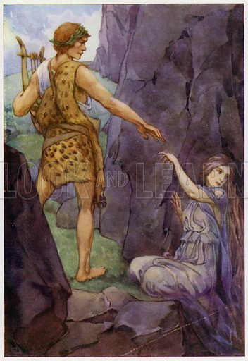 Swiftly he turned, and found his wife behind him. Illustration for A Book of Myths by Jean Lang (Jack, c 1929).