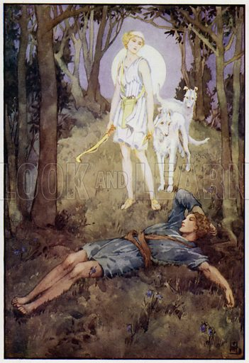 She checked her hounds, and stood beside Endymion. Illustration for A Book of Myths by Jean Lang (Jack, c 1929).
