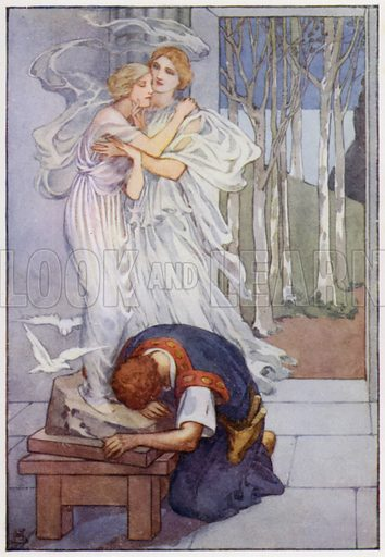 Then Pygmalion covered his eyes. Illustration for A Book of Myths by Jean Lang (Jack, c 1929).