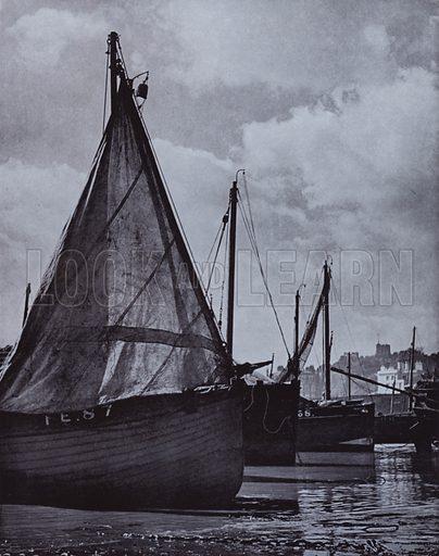 … all the fishing fleet of slender spars Range at their moorings, veer with tide about, V Sackville-West. Illustration for A Book of Praise by Harold Burdekin (J M Dent, 1948).