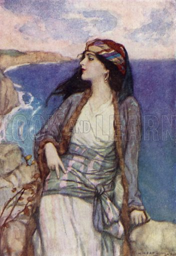 Maid Of Athens. Illustration for A Day with Byron by M C Gillington (Hodder and Stoughton, c 1910).  Artist's signature illegible.