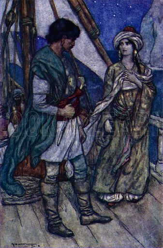 Conrad And Gulnare. Illustration for A Day with Byron by M C Gillington (Hodder and Stoughton, c 1910).  Artist's signature illegible.