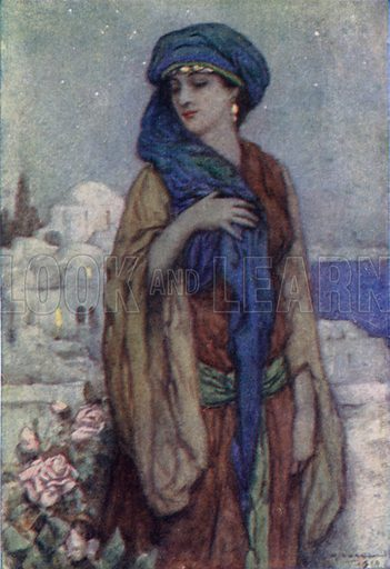 She Walks In Beauty. Illustration for A Day with Byron by M C Gillington (Hodder and Stoughton, c 1910).  Artist's signature illegible.