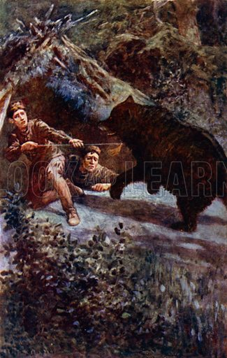 """""""I thrust the spear with all my might into the bear's chest."""" Illustration for Afar In The Forest by W H G Kingston (Thomas Nelson, c 1910)."""