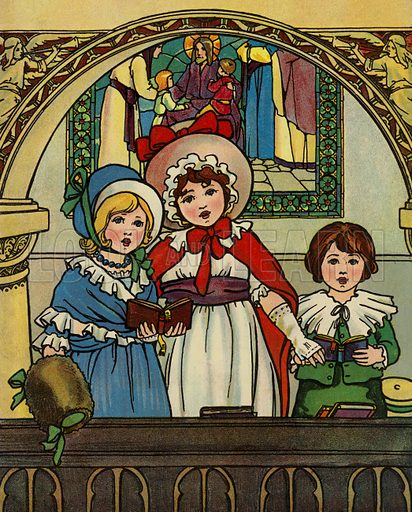 Cover illustration for A Friend for Little Children and Other Favourite Hymns for Children (Humphrey Milford, Oxford University Press, c 1903).  Note: Image has been retouched to remove text and soiling.