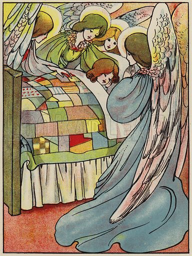 Kind angels guard me every night. Illustration for A Friend for Little Children and Other Favourite Hymns for Children (Humphrey Milford, Oxford University Press, c 1903).