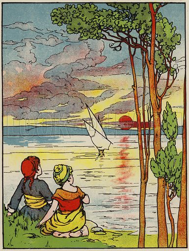 A little ship was on the sea. Illustration for A Friend for Little Children and Other Favourite Hymns for Children (Humphrey Milford, Oxford University Press, c 1903).