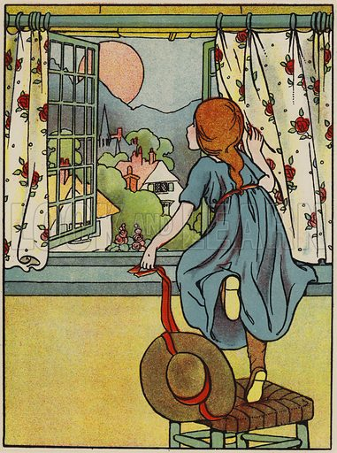Every morning the red sun. Illustration for A Friend for Little Children and Other Favourite Hymns for Children (Humphrey Milford, Oxford University Press, c 1903).