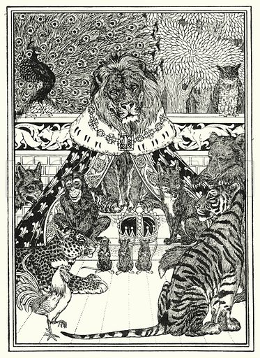 Frontispiece illustration for A Hundred Fables of La Fontaine (John Lane, The Bodley Head, 3rd edn, c 1910).