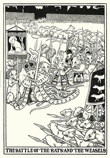 The battle of the rats and the weasels. Illustration for A Hundred Fables of La Fontaine (John Lane, The Bodley Head, 3rd edn, c 1910).