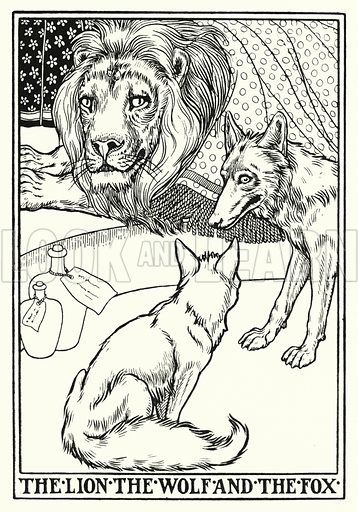The lion, the wolf and the fox. Illustration for A Hundred Fables of La Fontaine (John Lane, The Bodley Head, 3rd edn, c 1910).