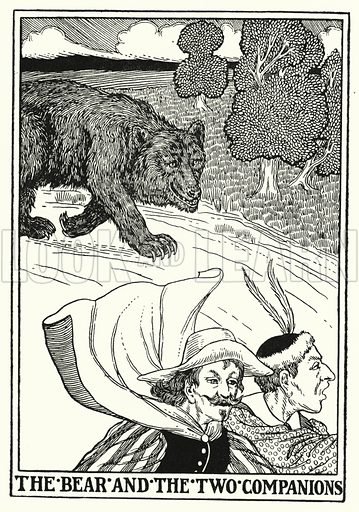 The bear and the two companions. Illustration for A Hundred Fables of La Fontaine (John Lane, The Bodley Head, 3rd edn, c 1910).