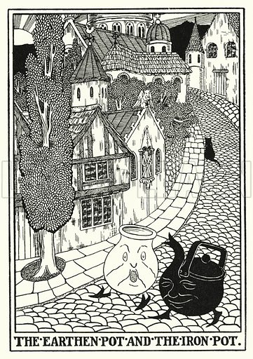 The earthen pot and the iron pot. Illustration for A Hundred Fables of La Fontaine (John Lane, The Bodley Head, 3rd edn, c 1910).