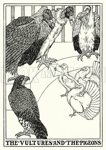 The vultures and the pigeons. Illustration for A Hundred Fables of La Fontaine (John Lane, The Bodley Head, 3rd edn, c 1910).