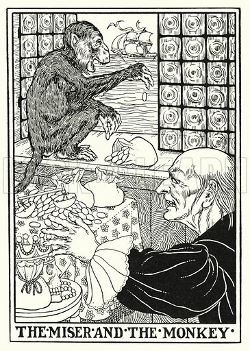 The miser and the monkey. Illustration for A Hundred Fables of La Fontaine (John Lane, The Bodley Head, 3rd edn, c 1910).