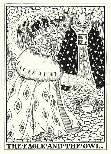 The eagle and the owl. Illustration for A Hundred Fables of La Fontaine (John Lane, The Bodley Head, 3rd edn, c 1910).