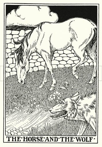 The horse and the wolf. Illustration for A Hundred Fables of La Fontaine (John Lane, The Bodley Head, 3rd edn, c 1910).