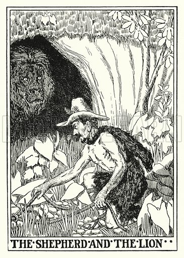The shepherd and the lion. Illustration for A Hundred Fables of La Fontaine (John Lane, The Bodley Head, 3rd edn, c 1910).