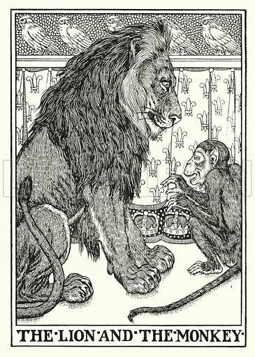 The lion and the monkey. Illustration for A Hundred Fables of La Fontaine (John Lane, The Bodley Head, 3rd edn, c 1910).