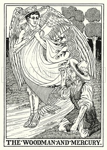 The woodman and Mercury. Illustration for A Hundred Fables of La Fontaine (John Lane, The Bodley Head, 3rd edn, c 1910).