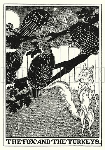 The fox and the turkeys. Illustration for A Hundred Fables of La Fontaine (John Lane, The Bodley Head, 3rd edn, c 1910).