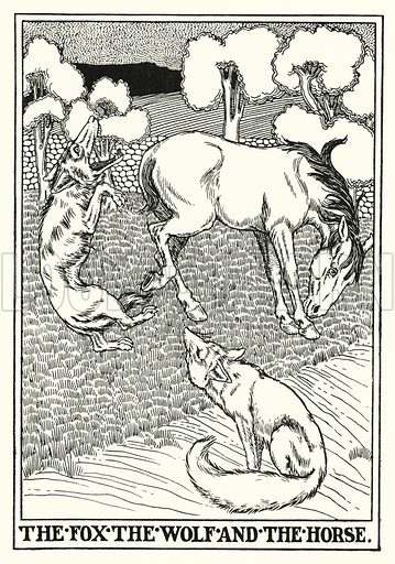 The fox, the wolf and the horse. Illustration for A Hundred Fables of La Fontaine (John Lane, The Bodley Head, 3rd edn, c 1910).
