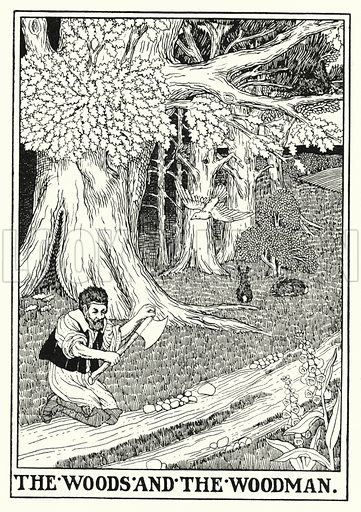The woods and the woodman. Illustration for A Hundred Fables of La Fontaine (John Lane, The Bodley Head, 3rd edn, c 1910).