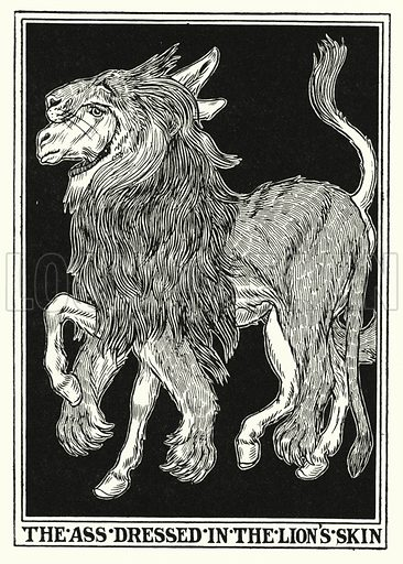 The ass dressed in the lion's skin. Illustration for A Hundred Fables of La Fontaine (John Lane, The Bodley Head, 3rd edn, c 1910).