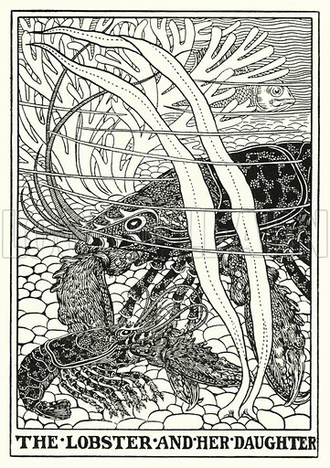 The lobster and her daughter. Illustration for A Hundred Fables of La Fontaine (John Lane, The Bodley Head, 3rd edn, c 1910).