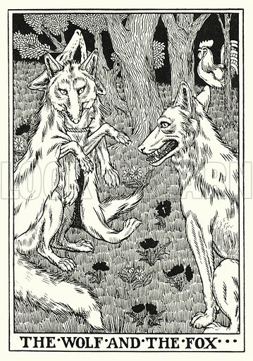 The wolf and the fox. Illustration for A Hundred Fables of La Fontaine (John Lane, The Bodley Head, 3rd edn, c 1910).