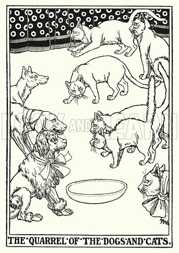 The quarrel of the dogs and cats. Illustration for A Hundred Fables of La Fontaine (John Lane, The Bodley Head, 3rd edn, c 1910).