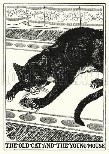 The old cat and the young mouse. Illustration for A Hundred Fables of La Fontaine (John Lane, The Bodley Head, 3rd edn, c 1910).