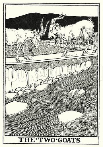 The two goats. Illustration for A Hundred Fables of La Fontaine (John Lane, The Bodley Head, 3rd edn, c 1910).