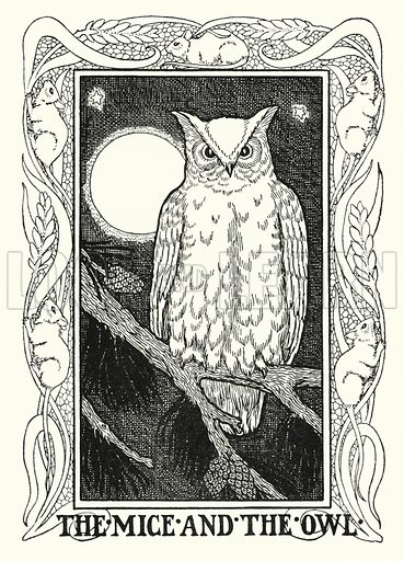 The mice and the owl. Illustration for A Hundred Fables of La Fontaine (John Lane, The Bodley Head, 3rd edn, c 1910).
