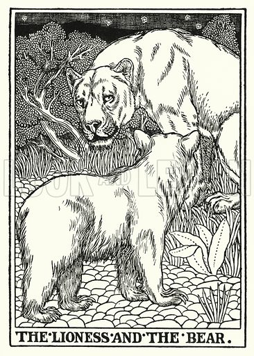 The lioness and the bear. Illustration for A Hundred Fables of La Fontaine (John Lane, The Bodley Head, 3rd edn, c 1910).