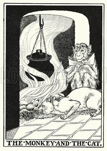 The monkey and the cat. Illustration for A Hundred Fables of La Fontaine (John Lane, The Bodley Head, 3rd edn, c 1910).