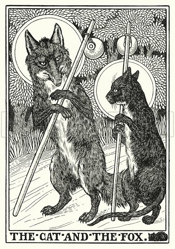 The cat and the fox. Illustration for A Hundred Fables of La Fontaine (John Lane, The Bodley Head, 3rd edn, c 1910).