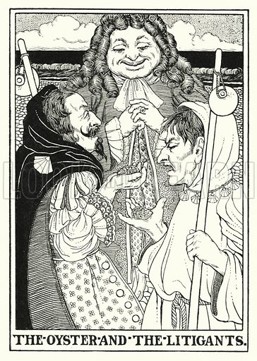 The oyster and the litigants. Illustration for A Hundred Fables of La Fontaine (John Lane, The Bodley Head, 3rd edn, c 1910).