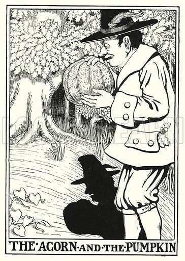 The acorn and the pumpkin. Illustration for A Hundred Fables of La Fontaine (John Lane, The Bodley Head, 3rd edn, c 1910).