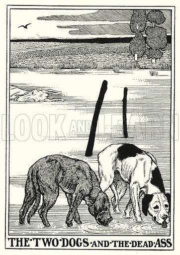 The two dogs and the dead ass. Illustration for A Hundred Fables of La Fontaine (John Lane, The Bodley Head, 3rd edn, c 1910).